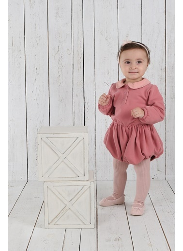 Nila Kids Pembe Rengi Organik Kız Bebek Tulum Elbise NK01015P 3-6A (3 AY- 1 YAş) Pembe